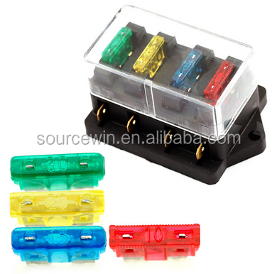 12V 24V Universal 4 Way Circuit Standard Blade Fuse Box Holder Block For Car Truck