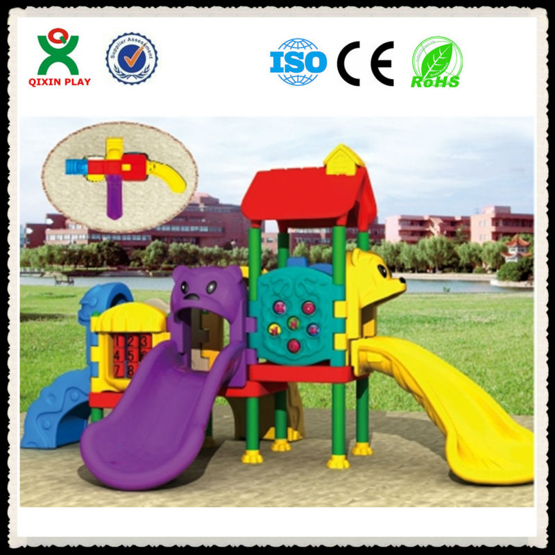 Non-toxic and solid plastic childrens slide/playground components/gorilla playsets QX-072C