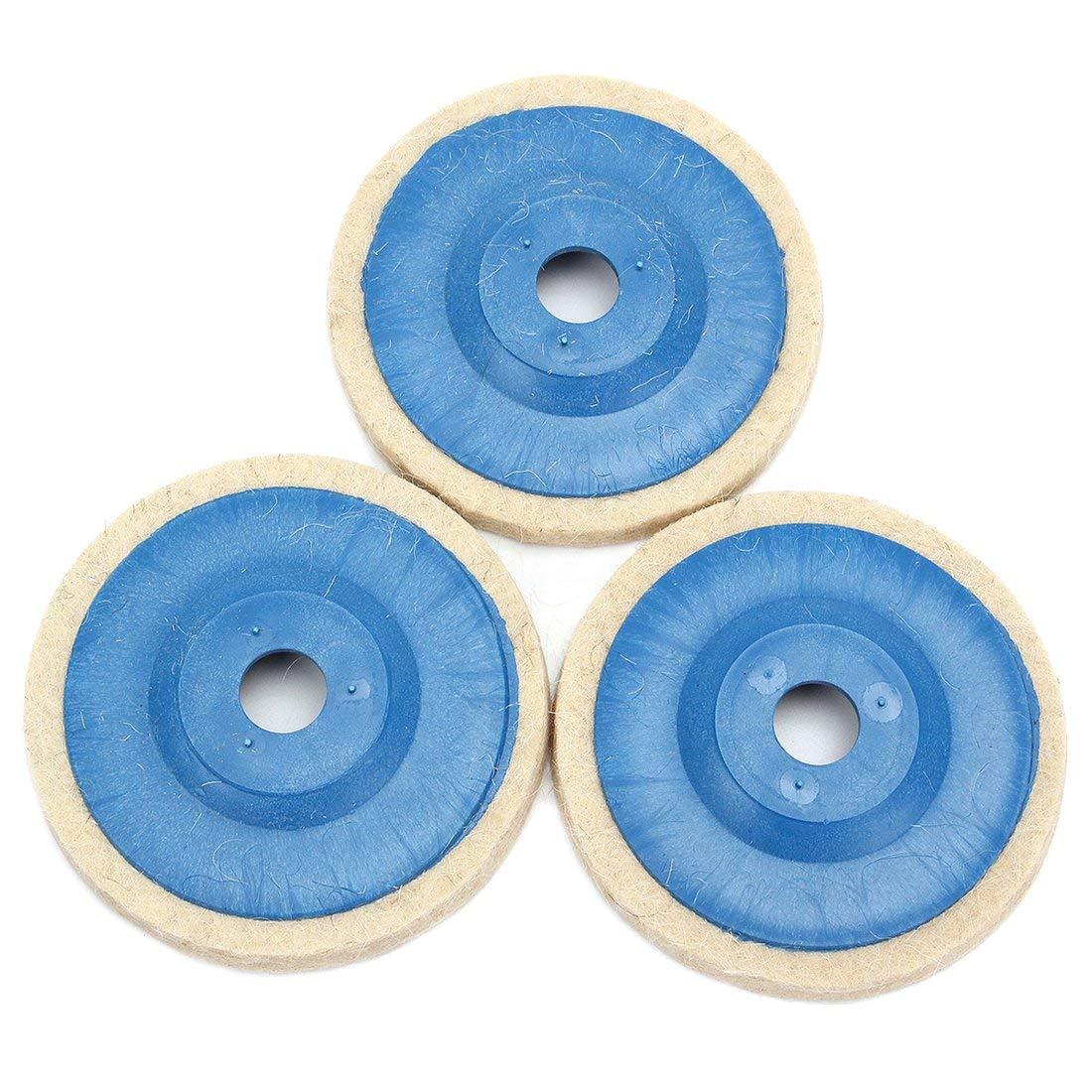 SODIAL(R) 3pcs 100mm 4Inch Grinding Pad wool Polishing Disc Abrasive Wheel Felt Buffer Set