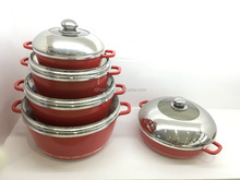 Aluminum die-casting non stick red parini cookware dessini set with ceramic coating