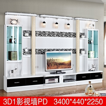 Living Room Furniture Lcd Tv Wall Unit Wood Led Tv Wall Unit Design 3D1  Modern Tv