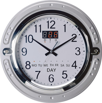 Needles Wall Clock With Date Day Temperature Humidity Led Display