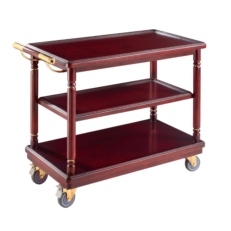 Wooden Food Service Trolley/ 3 Layers Service-Cart