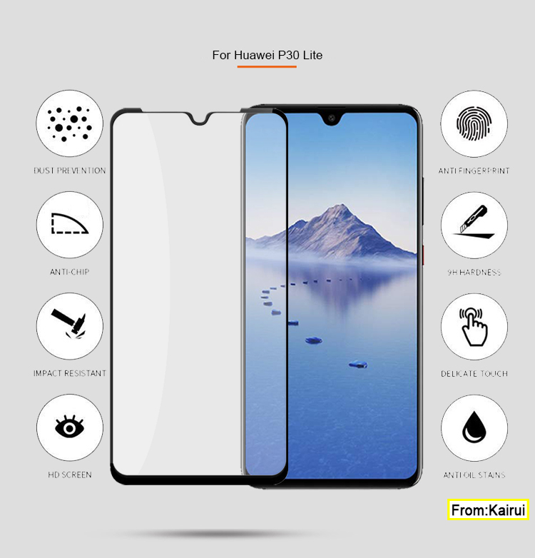 9H Hardness HD Clear Silk Full Screen Glue Tempered Glass Screen Protector Designed for Huawei P30 lite