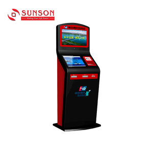 Dual Screen Kiosk Cash Coin Credit RFID Card Payment Optional Top Up Ticket Vending Machine