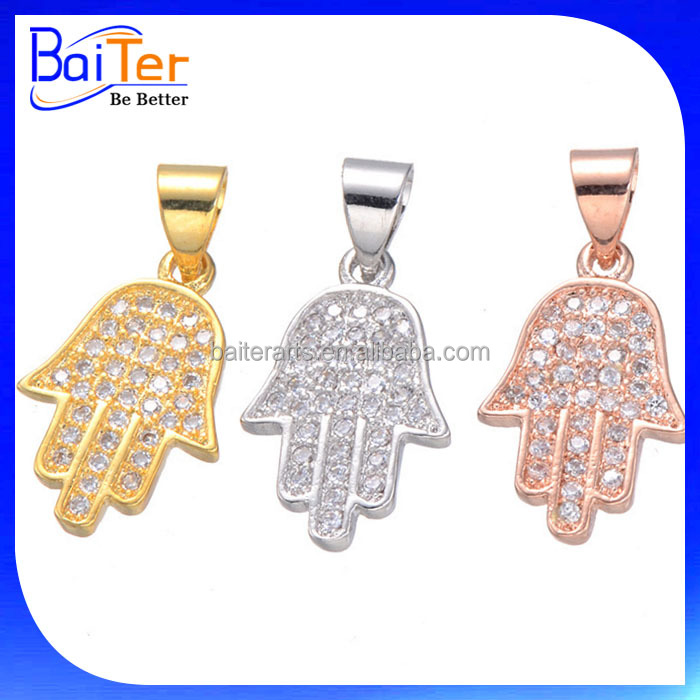 Hot Sale Fatima Jewelry 925 Sterling Silver White Gold Plated Created Diamond Fatima Hand Hamsa Pendant