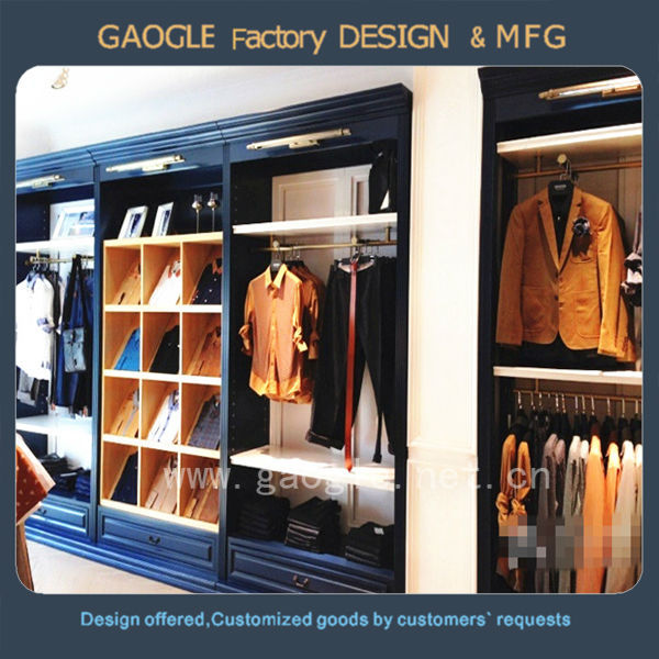 Guangzhou Factory Custom Cheap Clothing Display Cabinet Garment Shop Interior Wall Wood Showcase