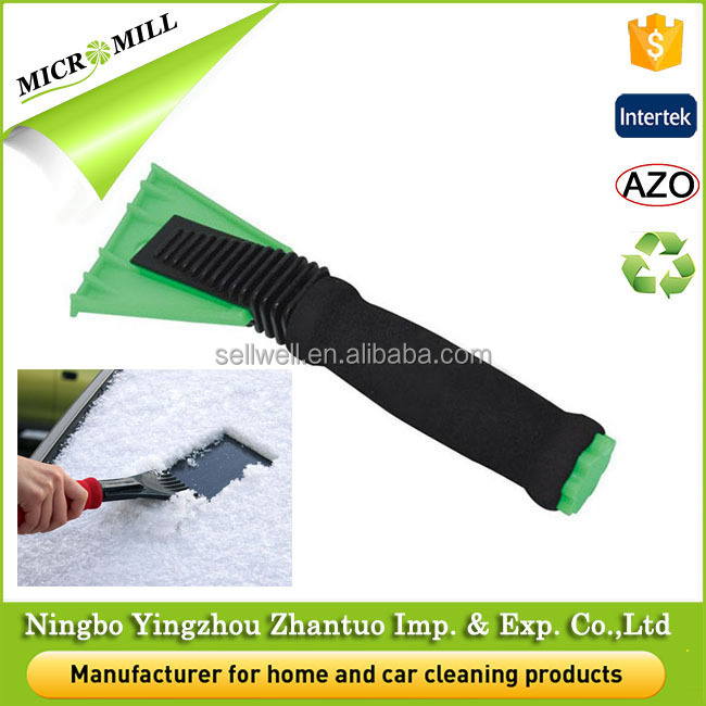 Premium Ice scraper for car windshield, plastic ice scraper foam handle, scratch-free snow scraper for best frost scraping