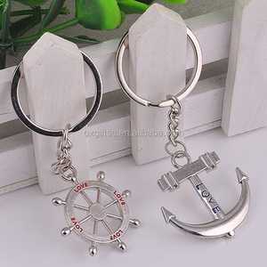 OXGIFT Wholesale Manufacturing Factory Price Amazon Custom logo metal Zinc alloy Yacht Anchor bbs steering wheel couple keychain