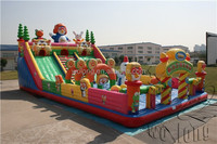 Fire truck inflatable dry slide, commercial inflatable slide