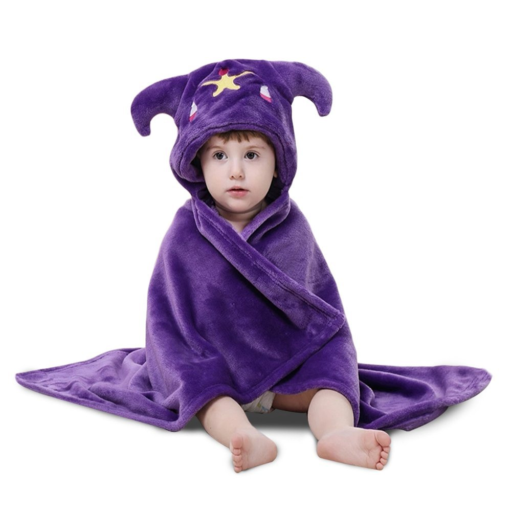 Lee D.Martin Baby Hooded Towels,Baby Hooded Cloak Blanket,Flannel Hooded Mantle,Super Soft and Comfortable Shawls Quilt,Kid's Cloak Baby Hooded Towels,Libra Towel Cape,31.5x35.5inches,Purple