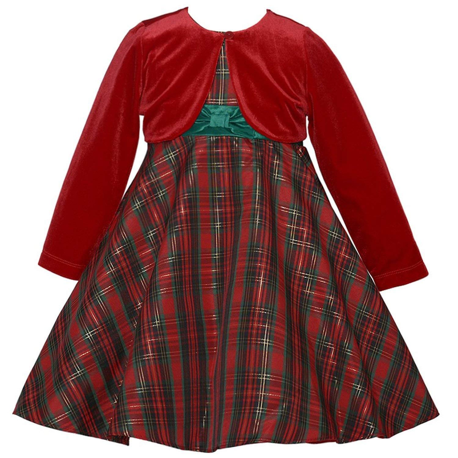 Little Girls Traditional Plaid Holiday Dress with Red Cardigan 14