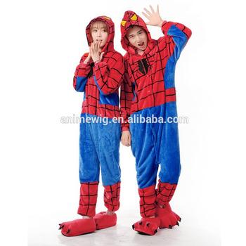 73469c72d1 De dibujos animados de alta calidad franela unisex adulto cosplay héroe  spiderman onesie ropa de dormir