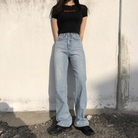or60661a 2019 spring/summer women high-waisted jeans new BF style fashion loose straight wide leg pants