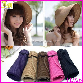 New Women s Summer Wide Brim Roll Up Foldable Sun Beach Straw Visor Hat Cap  Cheap f5b7d1775f68