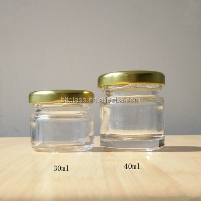 1.5oz 30ml 40ml round mini glass wedding gift packing stash jar honey jam sealable glass jar