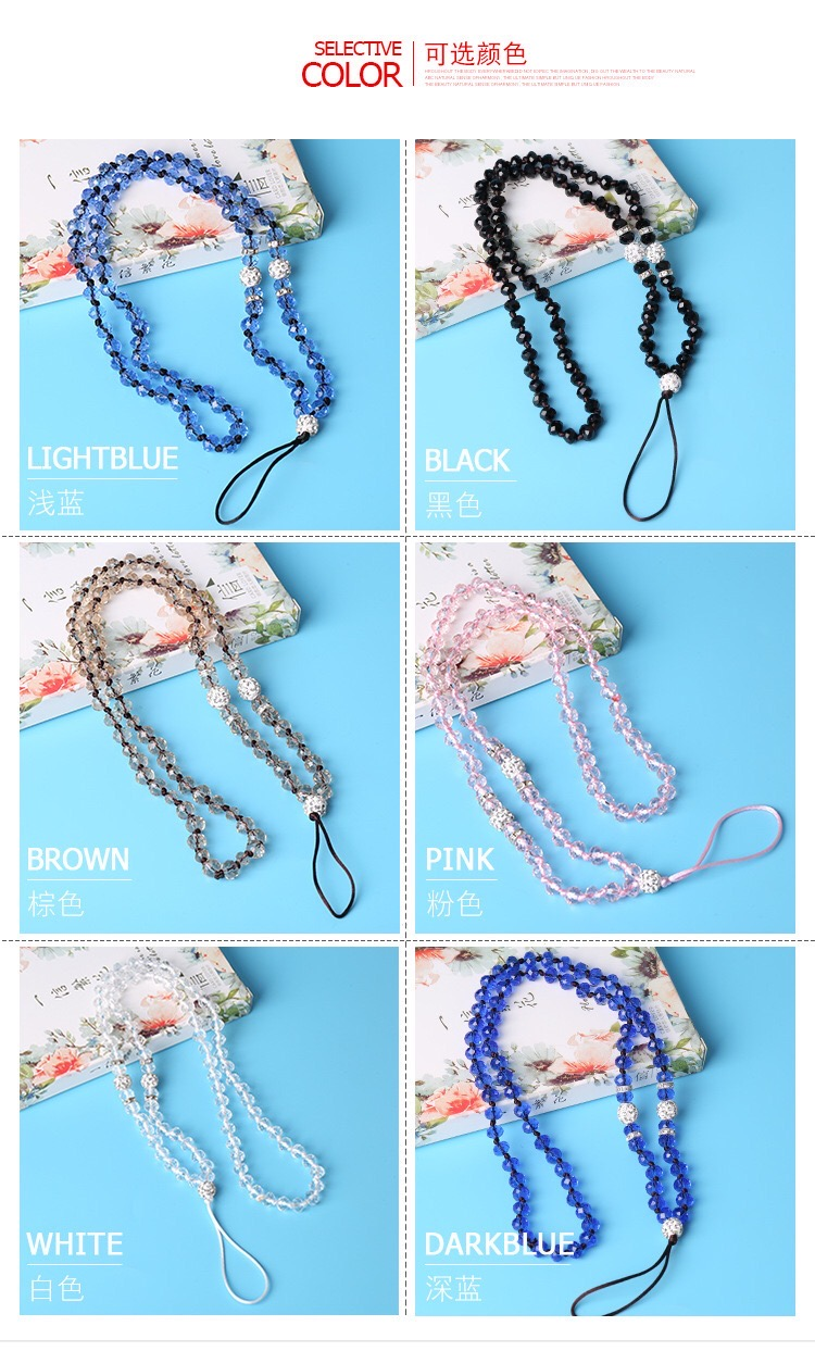 Made-in-China cellphone security lanyard crystal key chain ID card strap mobile phone accessory