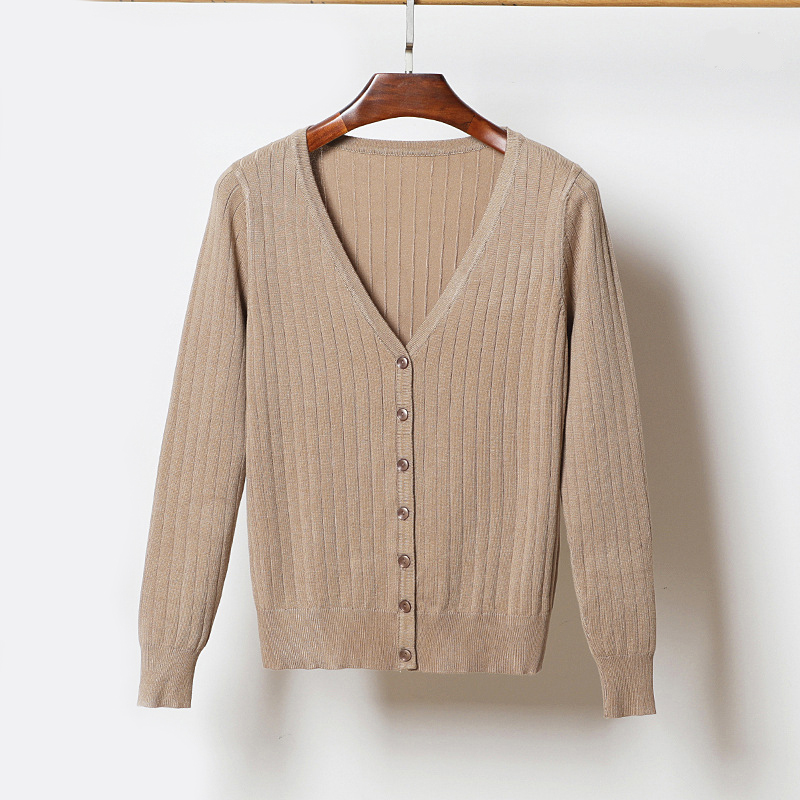 Hot selling stylish spring summer thin rib knit coat in-stock soft plain color women sweater cardigan wholesale