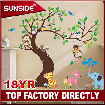 cheep printing custom 1mx2m animal wall decal stickers for kid