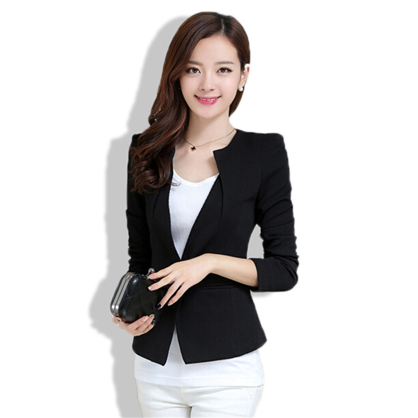 Get Quotations · Candy Color One Button Black White Blazer Women Long  Sleeve O-Neck Patchwork Slim Coat