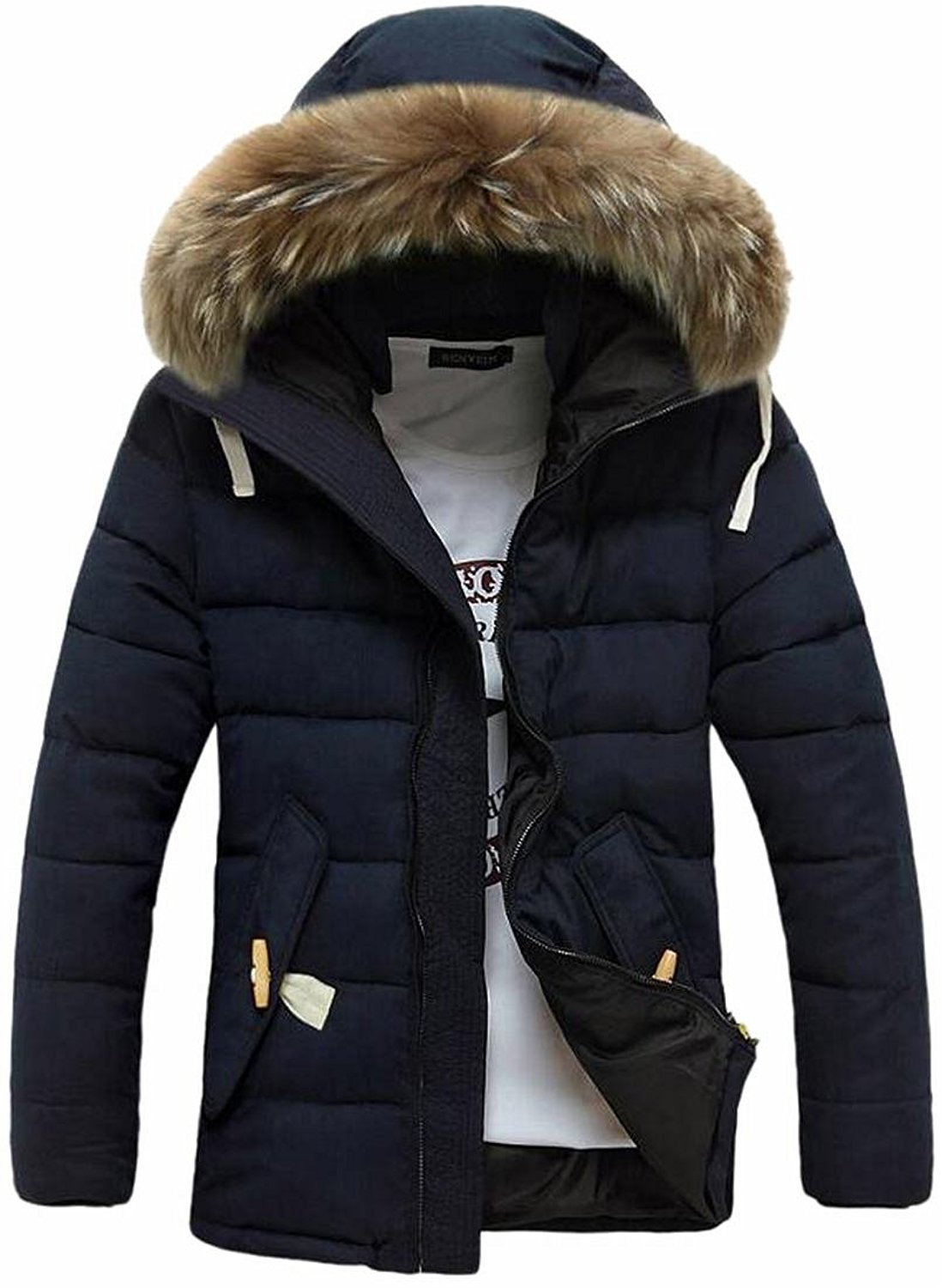 Gnao Mens Casual Thicken Quilted Padded Winter Zip-Up with Hooded Print Pockets Puffer Jacket