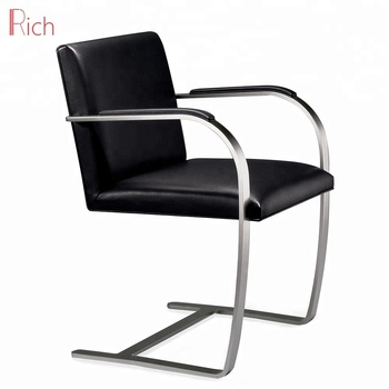Clic Design Leather Stainless Steel Office Chairs For Sitting Room Black Pu Brno Chair