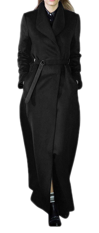 1c4ec9c9c1257 Get Quotations · AZIZY Women s Classic Full-Length Laple Long Sleeve  Outwear Slim Fit Wool Blend Coat