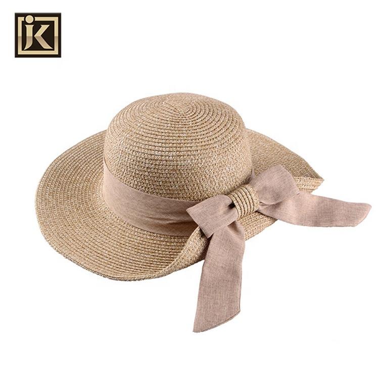 f48736af JAKIJAYI brand custom lady women paper hat summer women wholesale wide brim  foldable straw sun hat