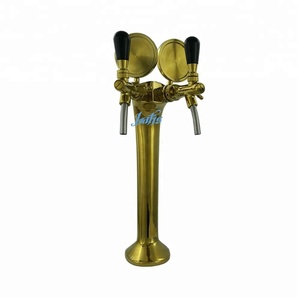 Golden cobra style 2-way beer tap tower with glycol cooling tube