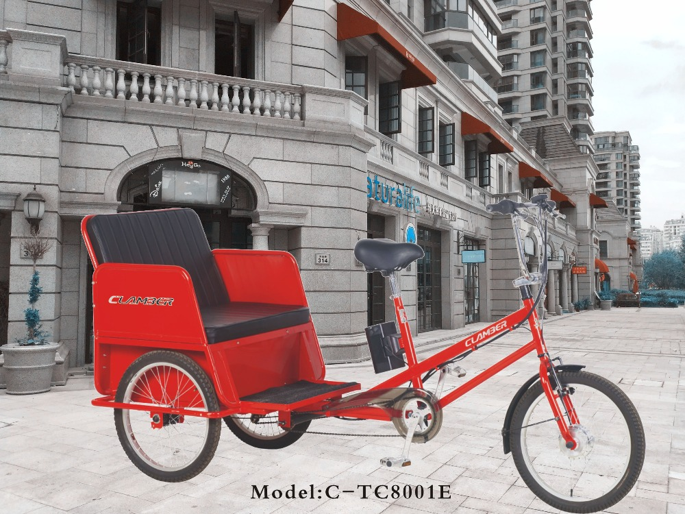Hot sale electric pedicab rickshaw tricycle taxi bike TC8001E 6 speeds with 20 inch 3 wheel bicycle for passanger made in china