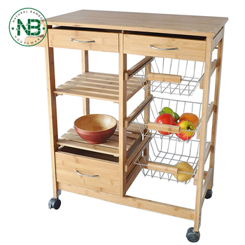 Bamboo Wood Kitchen Cart With Baskets Drawer And 6 Slot Wine Bottle Holder Basket