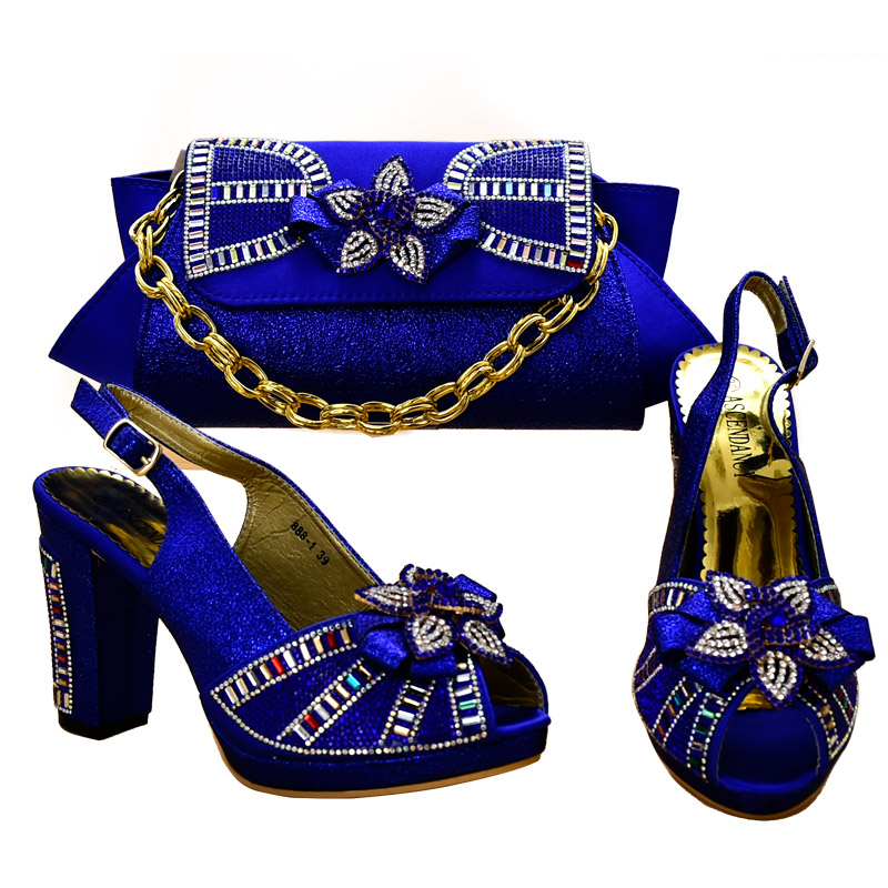 b08a0229e09 Pretty blue color 1 set ladies High heels shoes and bags to match for women  party