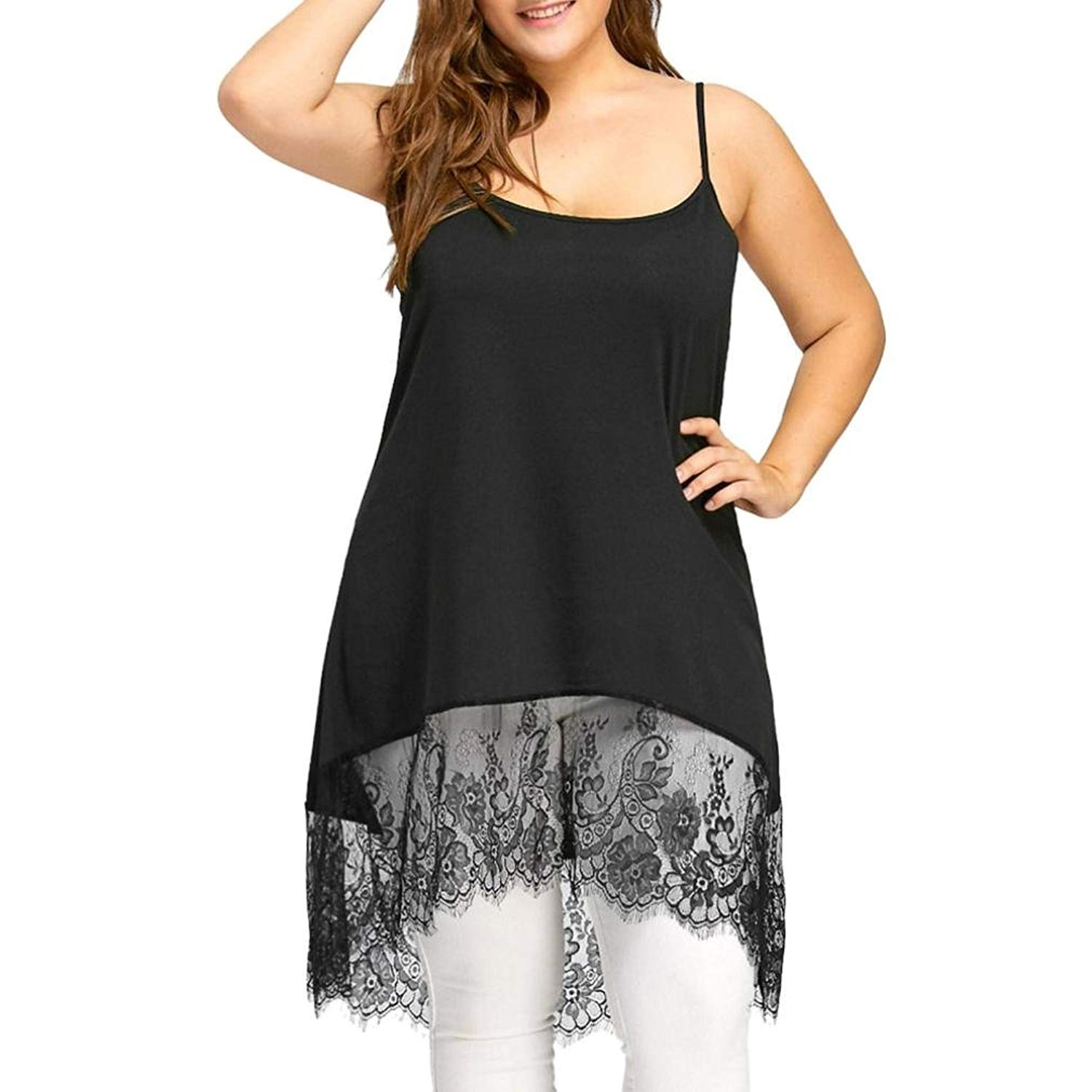 Ninasill Clearance ! Women Blouse, Hot Sexy Plus Size High Low Lace Camisole Tank Tops Long Vest