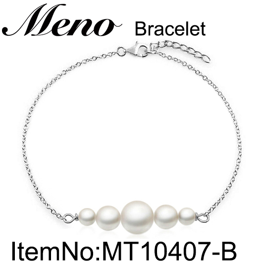 Meno 925 sterling silver pearls bracelet rhodium plated bangle for lady