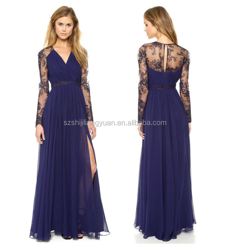 Вечернее платья с v-образным вырезом