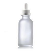 1 oz Clear FROSTED Boston Round Glass Bottle w/ White Child Resistant Dropper