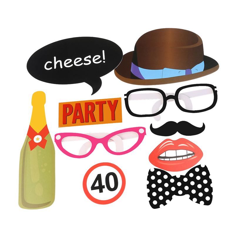 10 Pcs Photo Booth Props For 40th Birthday Party Pack Of Paper Masks Beard Glasses Hat Photobooth