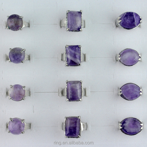 In Stock Mixed Lots Silver Plated Natural Amethyst Gemstone Rings Jewelry Wholesale