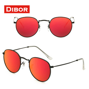 Classic thin rim vintage metal designer sunglasses with red pink silver mirror lens UV400 CE FDA custom logo polarized