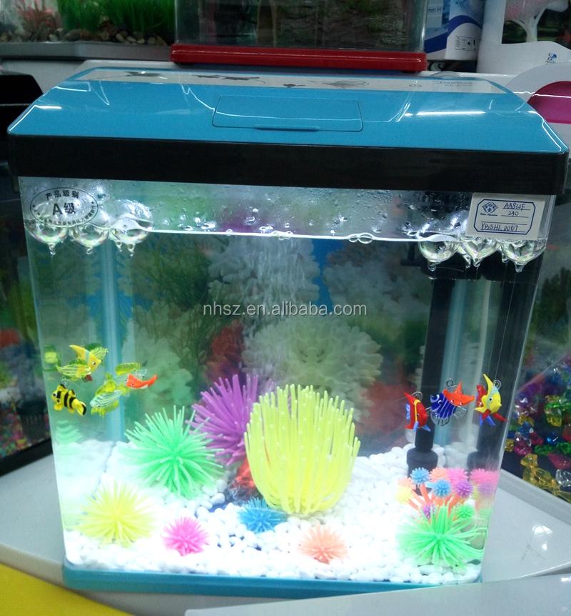 Mini Aquarium Usb Led Light Lamp Clear Fish Tank Box Feed Desktop Decoration Good Reputation Over The World Pet Supplies Aquariums & Tanks
