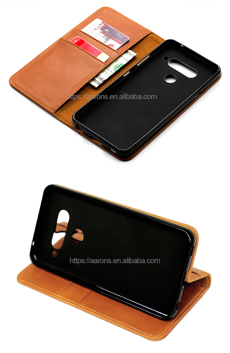 Free Sample Genuine Cow Leather Soft TPU holder Flip Leather Wallet Phone Case With Card Slot for LG V40
