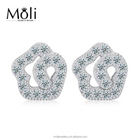 High Quality Flower Design Micro Diamond Zircon Crystal 925 Pure Sterling Silver Post Earrings for Retail from Moli Jewellery