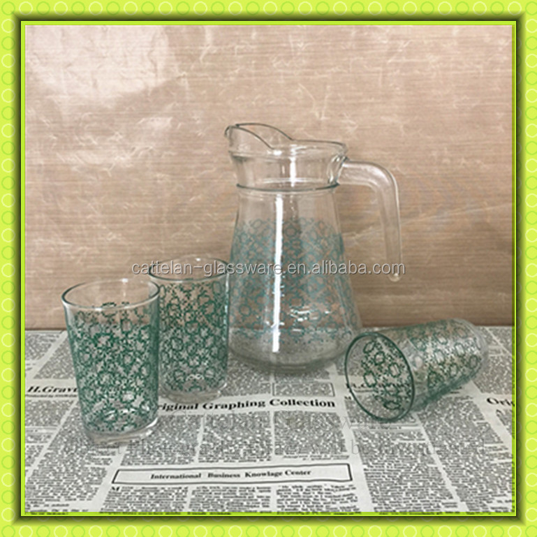 Old Fashioned Glass Water Jug Set With 4cups,Drinking Pitchers ...