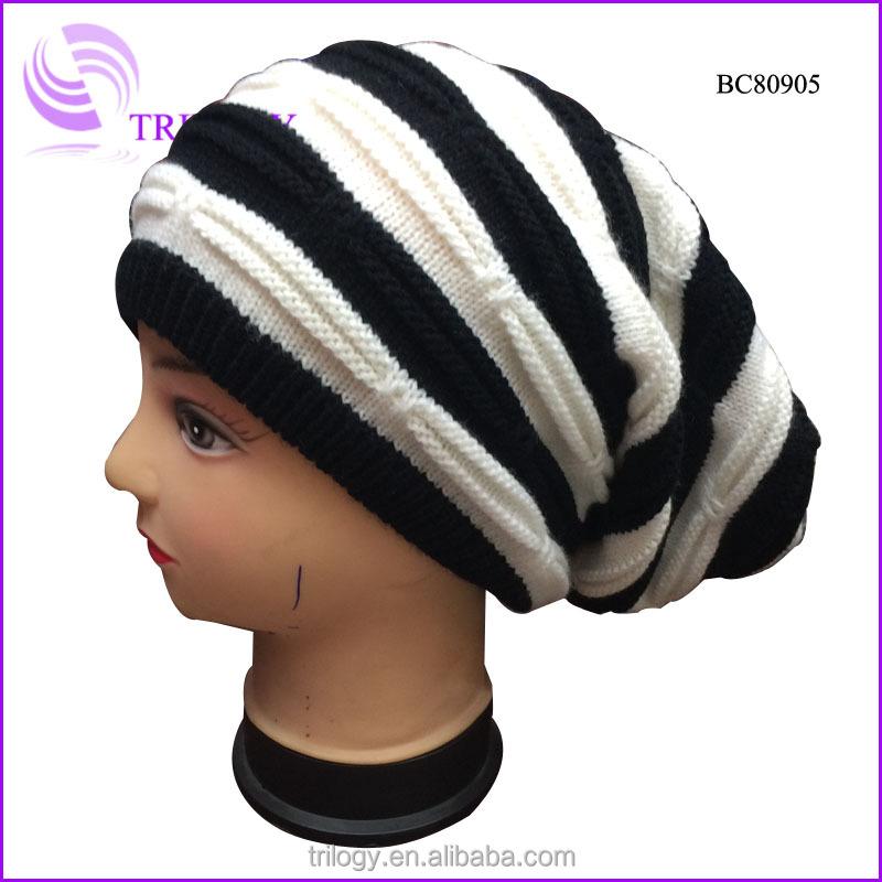 4c209d82624cb Plicate Crochet Knit Baggy Boy Teenager Striped Knitted Long Beanie ...