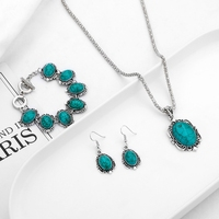 hot selling Vintage ethnic style turquoise necklace earrings bracelet set jewelry flower pendant necklace for female