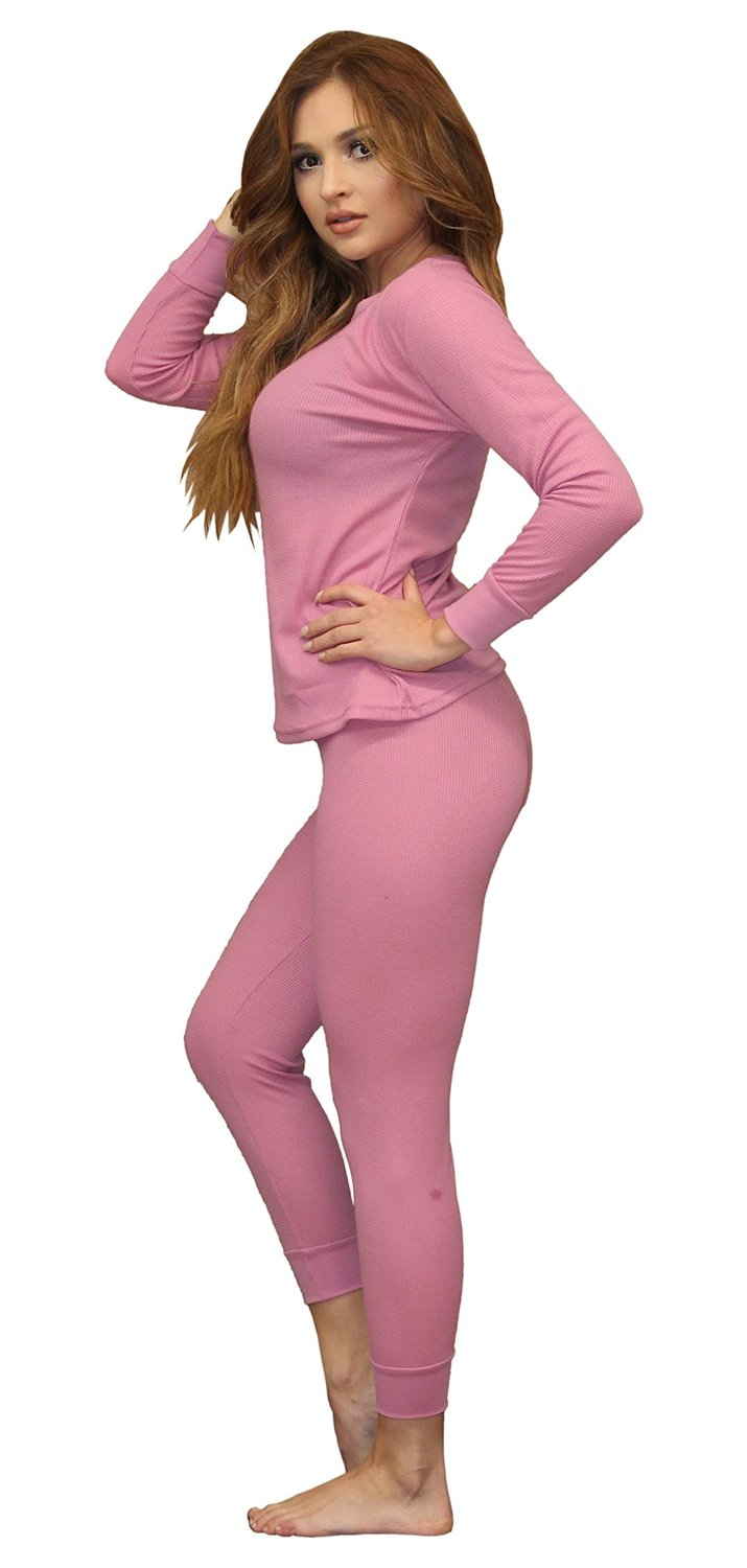 2b699b00461 Get Quotations · Women s Soft 100% Cotton Waffle Thermal Underwear Long  Johns Sets