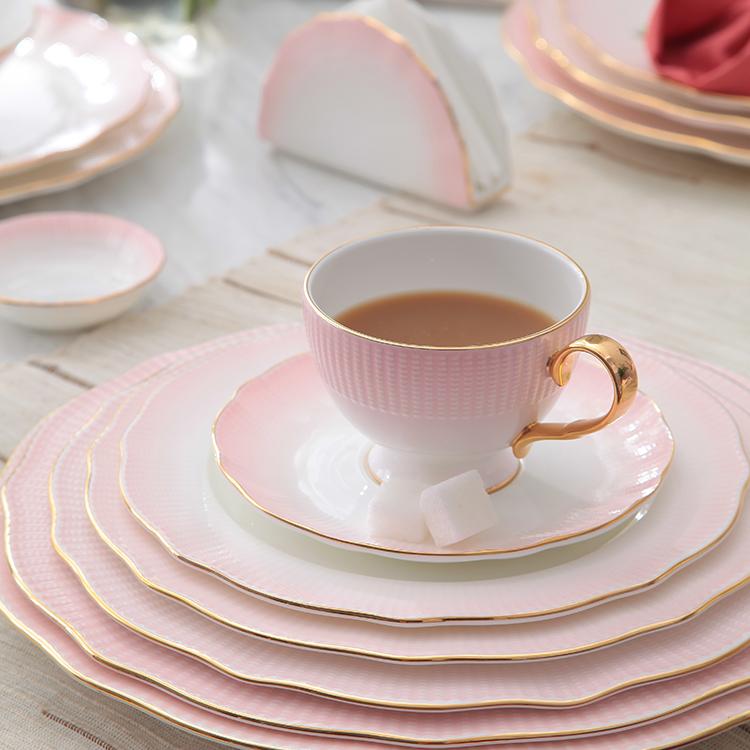 P&T Royal ware pink Circular dinner plate hot sell ceramic dinner plate