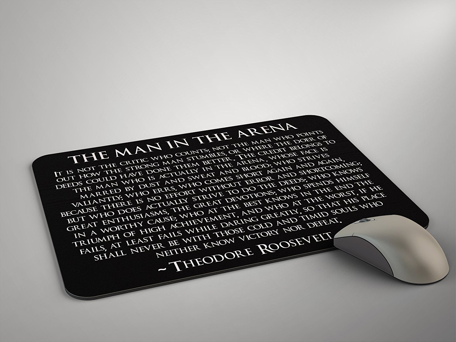 Theodore Roosevelt Man In The Arena Mouse Pad Teddy Roosevelt Quote Mousepad