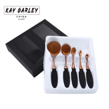 5 pcs rose gold oval makeup brush set good quality resin handle with super soft synthetic hair hot sale cosmetic brush
