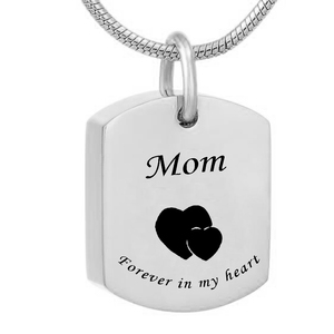 Forever in my heart MOM and DAD Square Stainless Steel Urn Pendant Memorial Ash Keepsake Cremation Jewelry